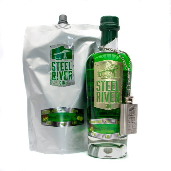 70cl Northern Lights Gin Bottle next to 70cl Northern Lights Refill Pouch
