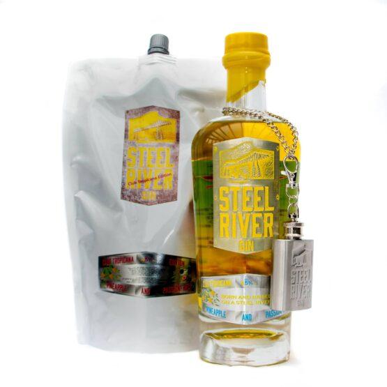 70cl Club Tropicana Gin Bottle next to 70cl Club Tropicana Refill Pouch