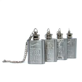 Four Steel River Original gin flasks with chain