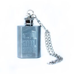 Silver Steel River Gin Flask, decorated with Steel River bottle logo design on front.