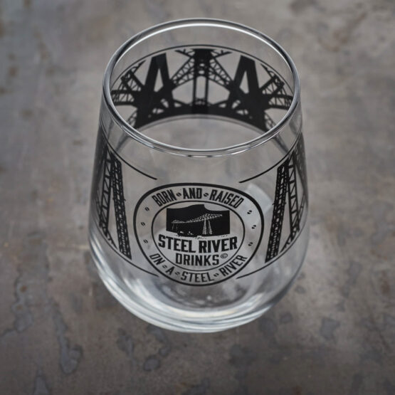 Tumbler Glass with Steel River Logo in Matt black.