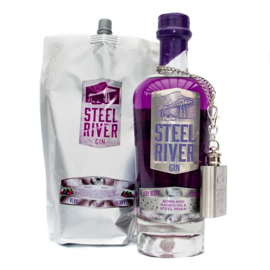 70cl Bottle of Very Berry Gin next to 70cl Very Berry Refill Pouch