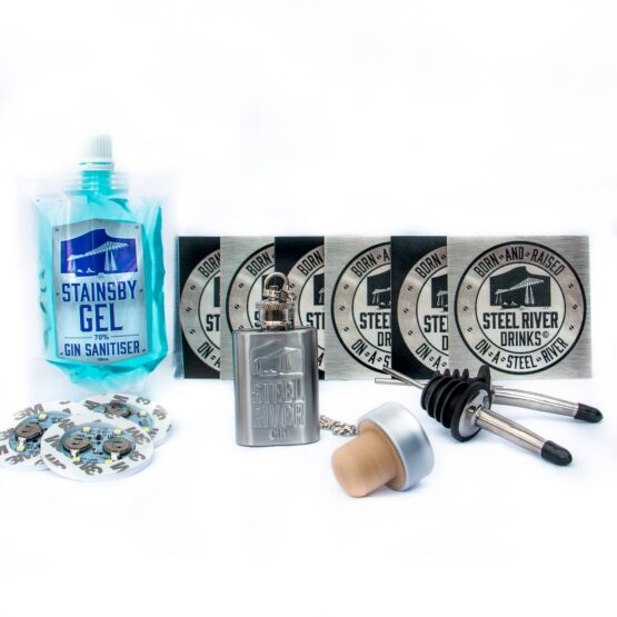 Steel River Extras: Stainsby Gel HandSanitizer 100ml Pouch, 6 Steel River Coasters, Ginflask, 2 bottle pourers, 3 LED bottle uplights and one spare bottle stopper.