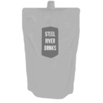 Greyscale digital drawing of Steel River Drinks Gin Refill Pouch