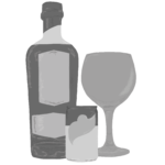 Greyscale digital drawing of Steel River Drinks Gin Bottle with Gin Goblet and tonic can