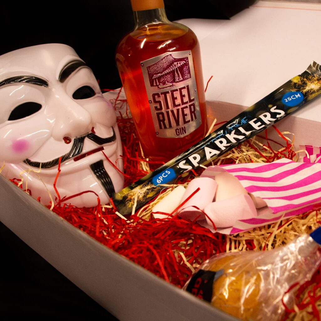 Toffee Apple Gin in Bonfire Night 265 club box with additional extras
