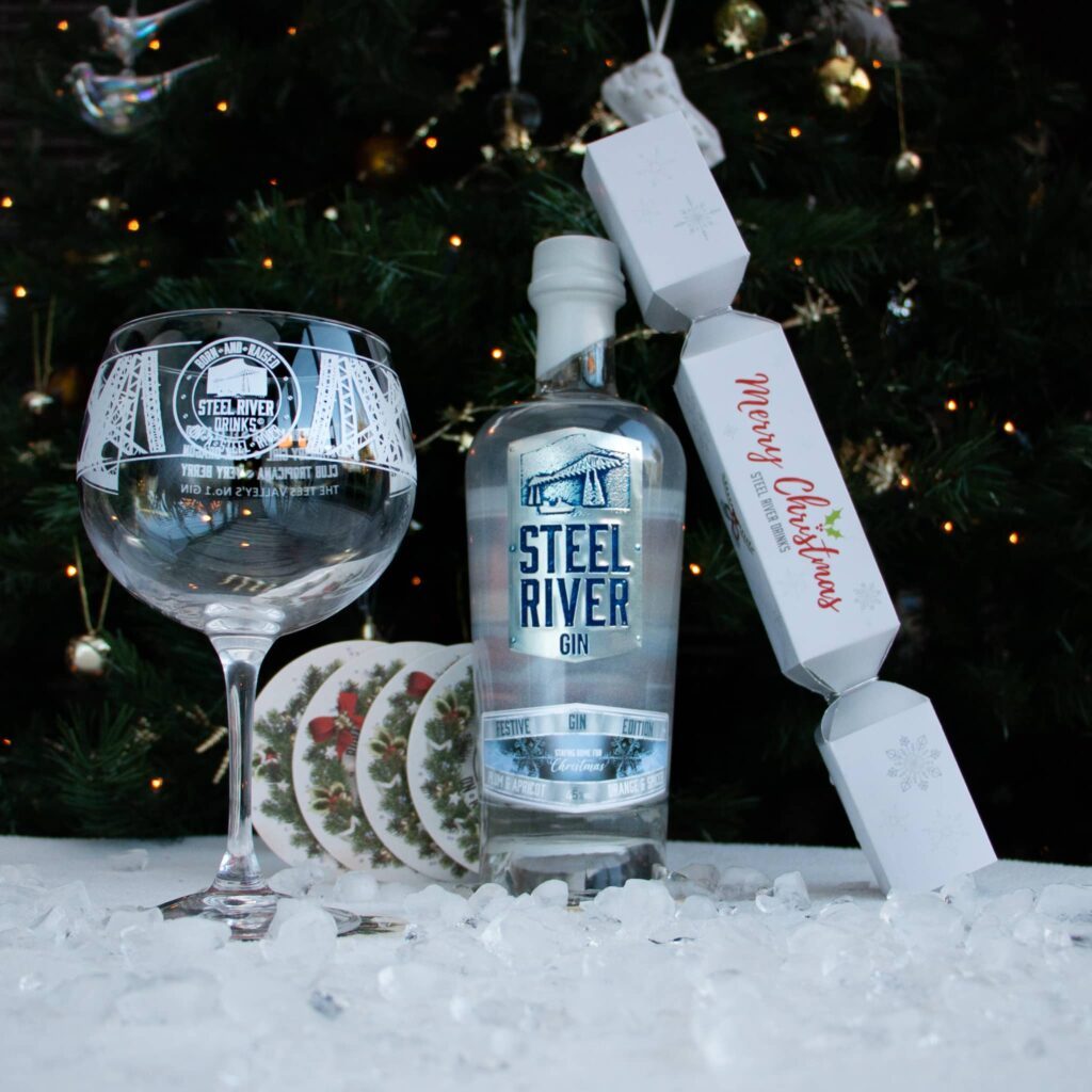 Christmas Gin with Club 265 extras, including a glass, a gin cracker and coasters
