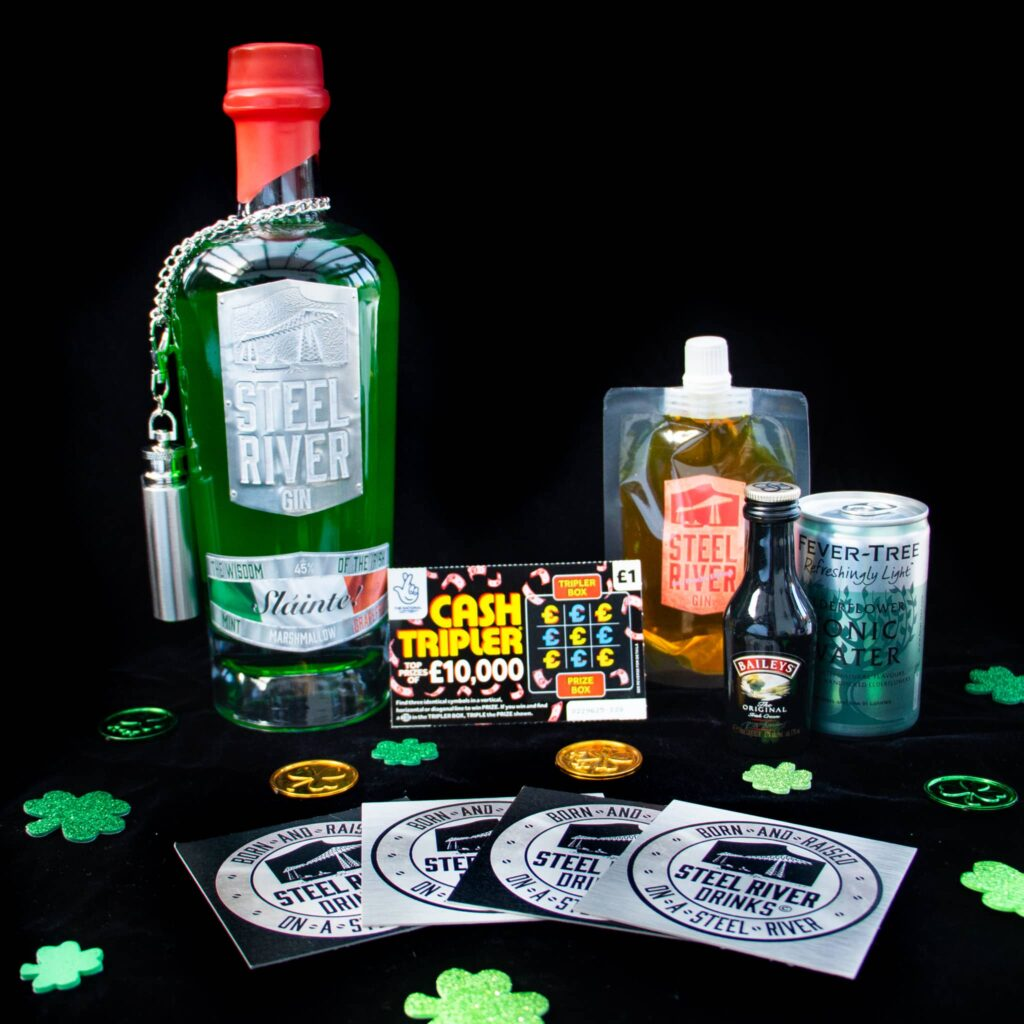 March 265 Club St.Patricks Day themed Gin with extras including Baileys, tonic water and a mini pouch of peach gin