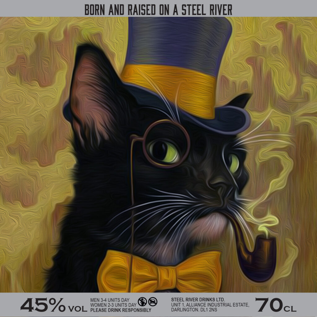 Illustration of a Black Cat in a top hat, monocle and bow tie, smoking a pipe